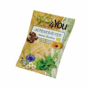 Bomboane cu extract de plante alpine si aroma de menta ECO 75 g, Bio4you