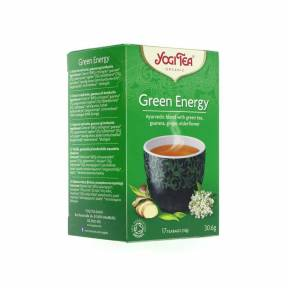 Ceai verde cu guarana, ghimbir si flori de soc Green Energy ECO 30.6 g (17 pliculete), Yogi Tea