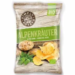 Chipsuri de cartofi cu ierburi alpine ECO 100 g, Simply Patato