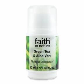 Deodorant roll on natural, cu ceai verde si Aloe Vera, Faith in Nature, 50 ml