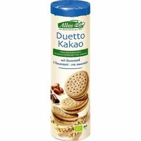 Duetto – Biscuiti sandwich, cu crema de cacao, ECO, 330 g, Allos