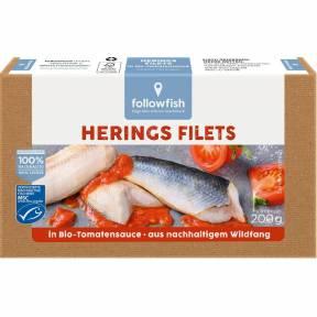 File de hering in sos ECO de rosii 200 g, Followfish
