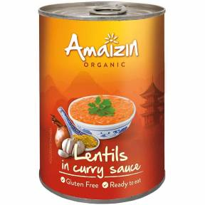 Linte in sos curry, ECO, 420 g, Amaizin