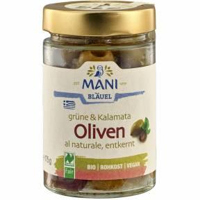 Masline verzi si kalamata fermentate ECO 175 g, Mani Blauel