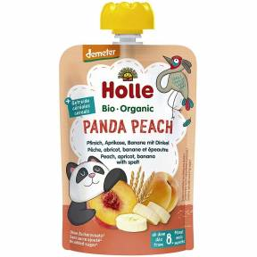 "Piure ""Panda Peach"", cu piersica, caisa, banana si spelta, Demeter, ECO, 100 g, Holle"