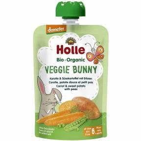 "Piure ""Veggie Bunny"", cu morcov, cartof dulce si mazare, Demeter, ECO, 100 g, Holle"
