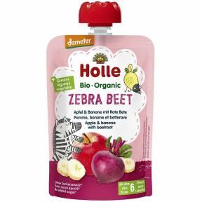 "Piure ""Zebra Beet"", cu mar, banana si sfecla rosie, Demeter, ECO, 100 g, Holle"