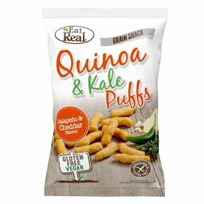 Pufuleti din porumb, quinoa si kale, cu aroma de jalapeno si cheddar, fara gluten, 113 g, Eat Real
