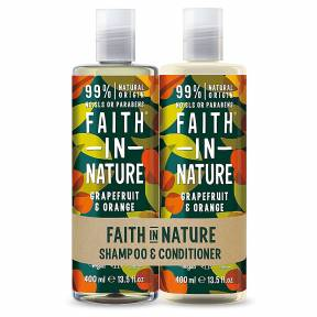Set Sampon & Balsam Grapefruit si Portocala, par normal sau gras, Faith in Nature, 2 x 400 ml