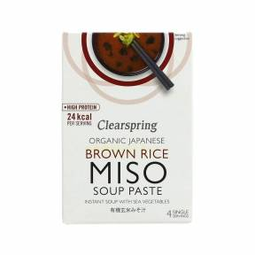 Supa instant cu pasta miso de orez integral si cu alge ECO 60 g (4 x 15 g), Clearspring