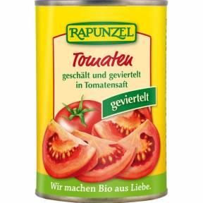 Tomate cojite si taiate in patru in Doza , ECO, 400 g, Rapunzel